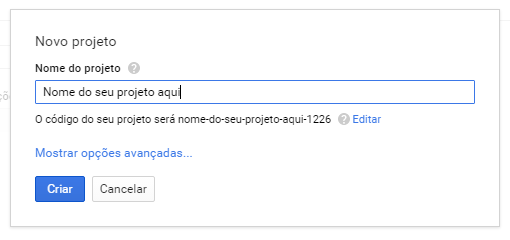 Criando projeto no google Console