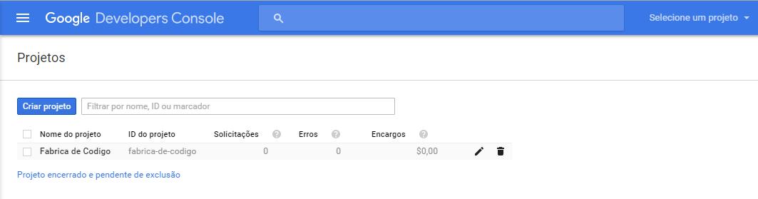Criando um projeto no Google console