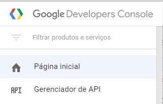 Menu do Google
