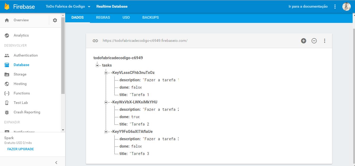 arvore do banco de dados - angular 2 e firebase